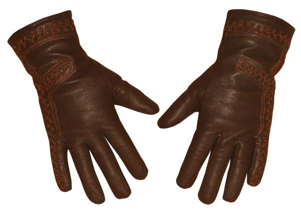 18ced8a7d9db2d ... Damenlederhandschuh braun mit Seidenfutter und einer feinen  Randstickerei Damenlederhandschuh ...